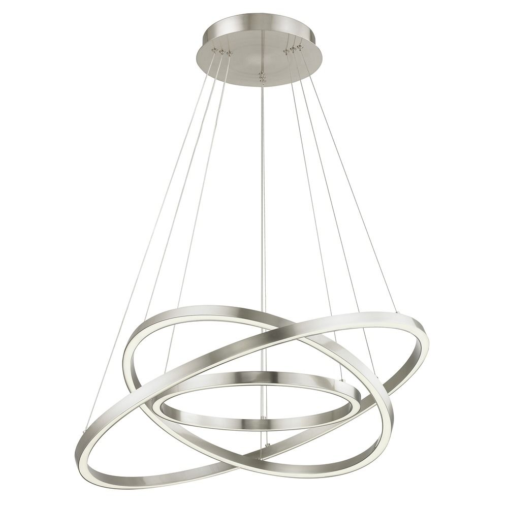 Modern 32-Inch Triple Ring LED Pendant Light Satin Nickel