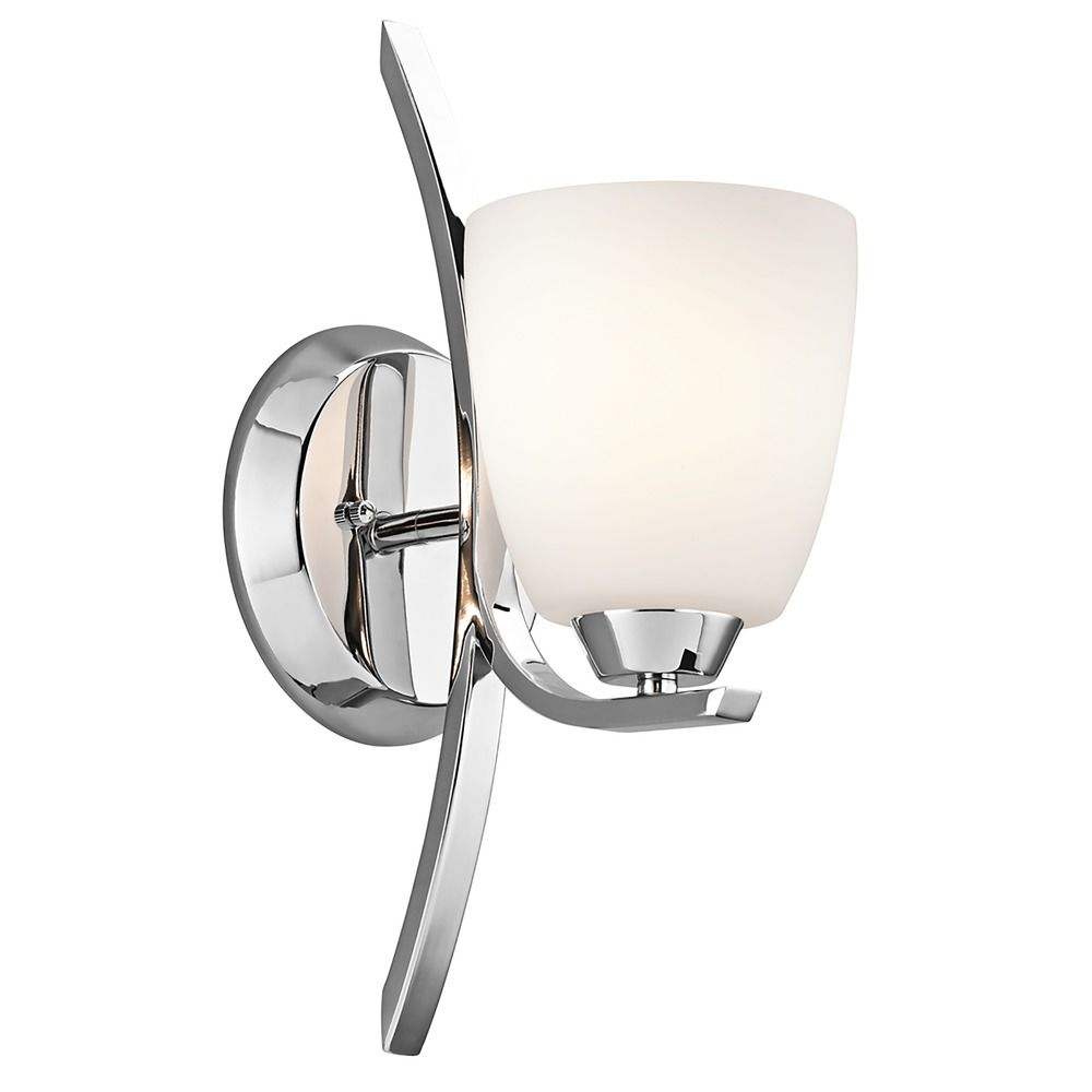 Wall Sconce Chrome Finish : Kichler Sconce Wall Light with White Glass in Chrome Finish 45358CH Destination Lighting