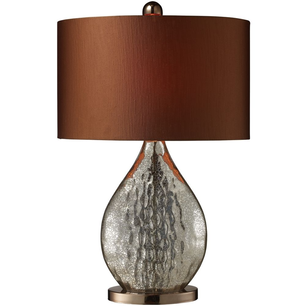 Modern Table Lamp With Copper Shade In Antique Mercury Glass With Coffee Plating Finish D1889
