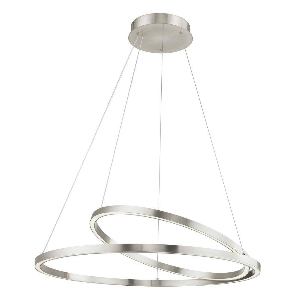 Modern Copper Ring Led Pendant Lighting 10758 Shipping: Modern 32-Inch LED Double Ring Pendant Light Satin Nickel