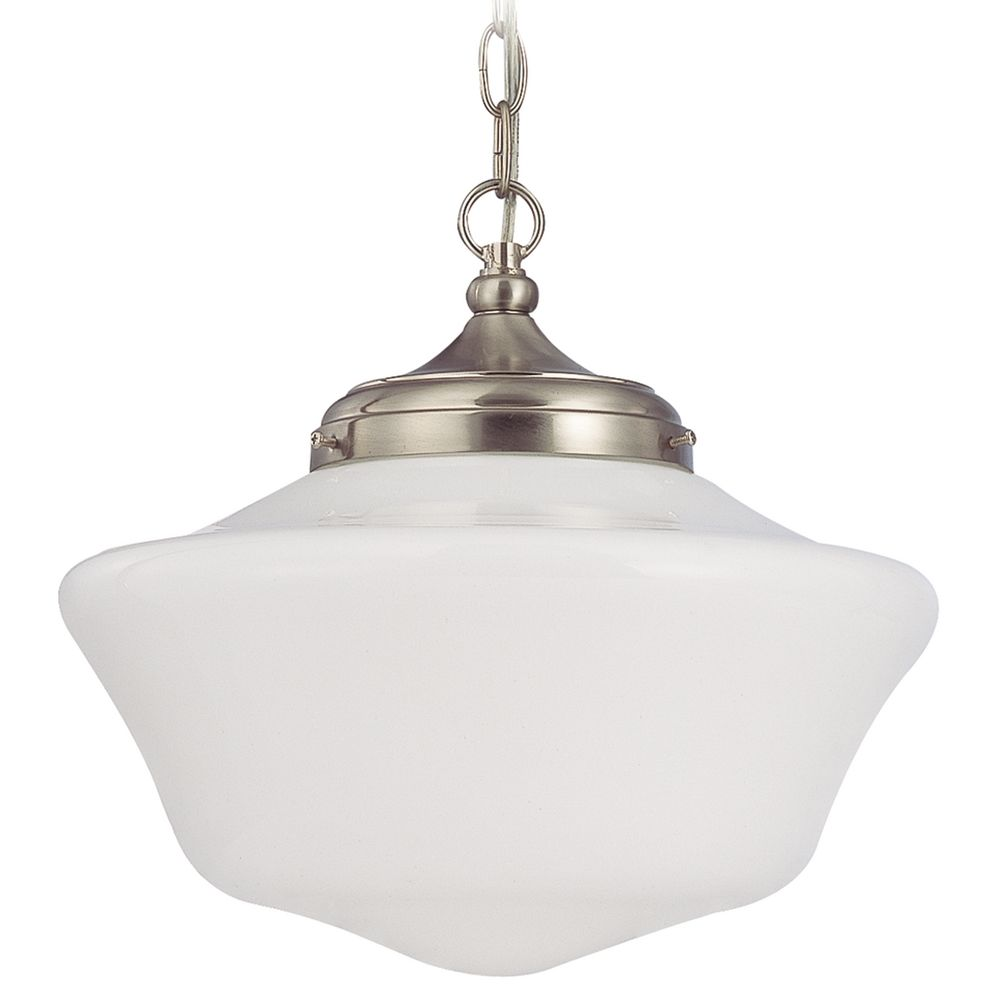 Schoolhouse ceiling lights destination lighting 14 inch schoolhouse pendant light in satin nickel with chain arubaitofo Gallery