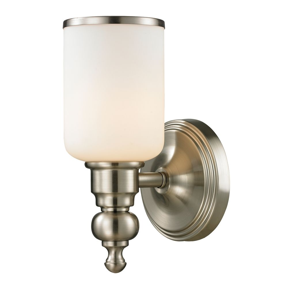 Sconce Wall Light With White Glass In Brushed Nickel Finish 11580 1 Destination Lighting