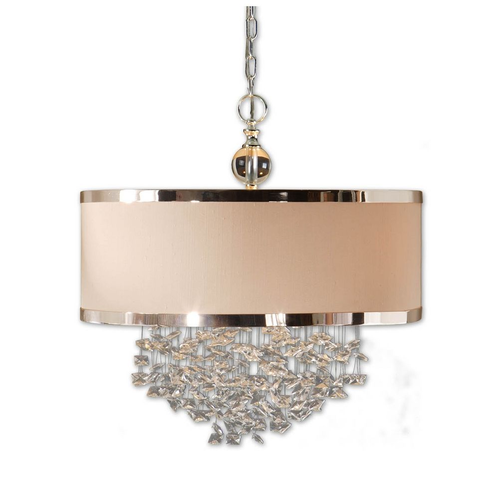 Pendant light with shade and crystals : Three light drum shade pendant with crystal accents