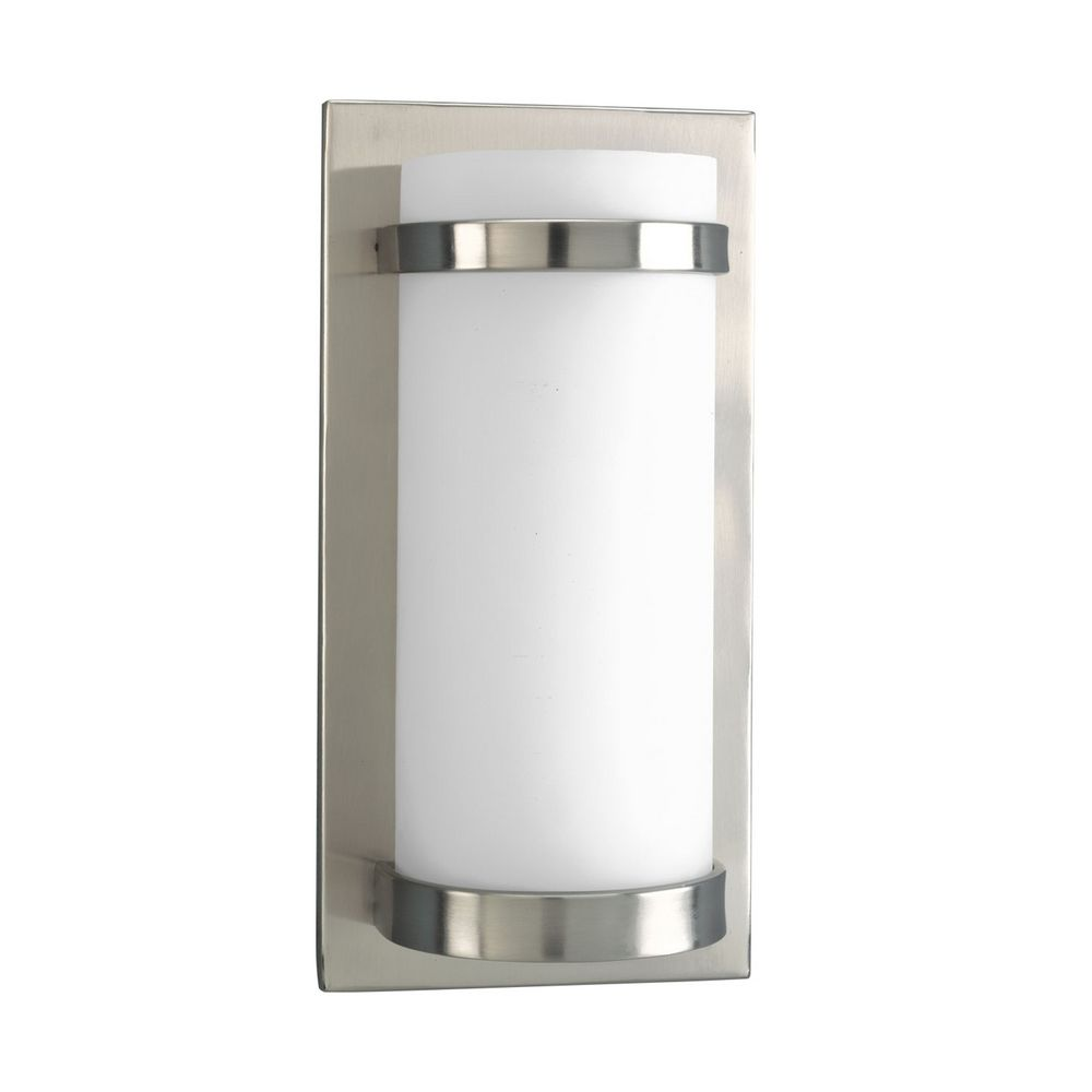 Wall Sconce White Glass : Modern Sconce Wall Light with White Glass in Brushed Nickel Finish P7052-09EB Destination ...