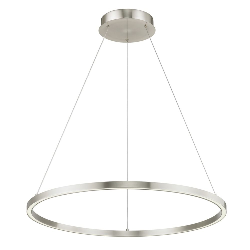 Modern 32 Inch Led Ring Pendant Light Satin Nickel Finish