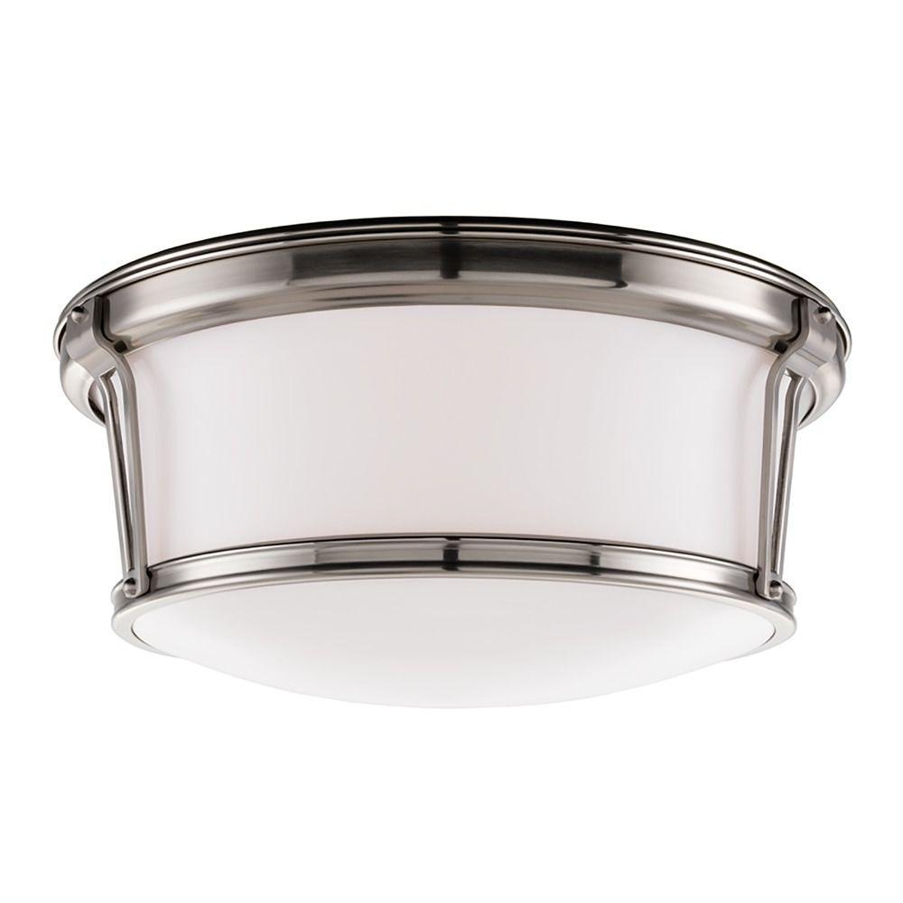 Flushmount Light With White Glass In Satin Nickel Finish