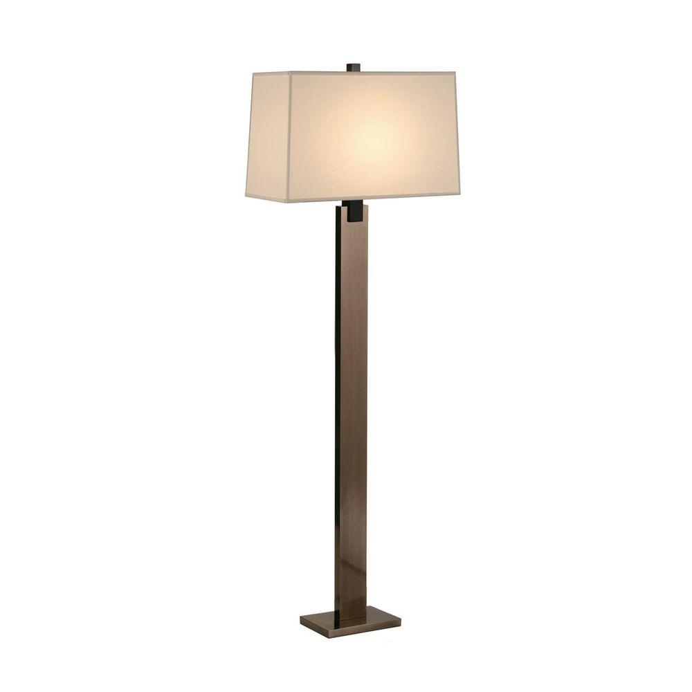 Modern Floor Lamp With Beige Cream Shade In Black Nickel