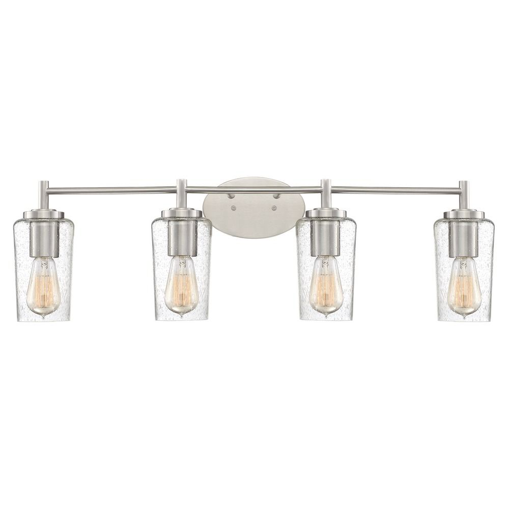 Industrial Edison Bulb Bathroom Light Brushed Nickel 32 5 Inch By Quoizel Lighting At Destination Lighting