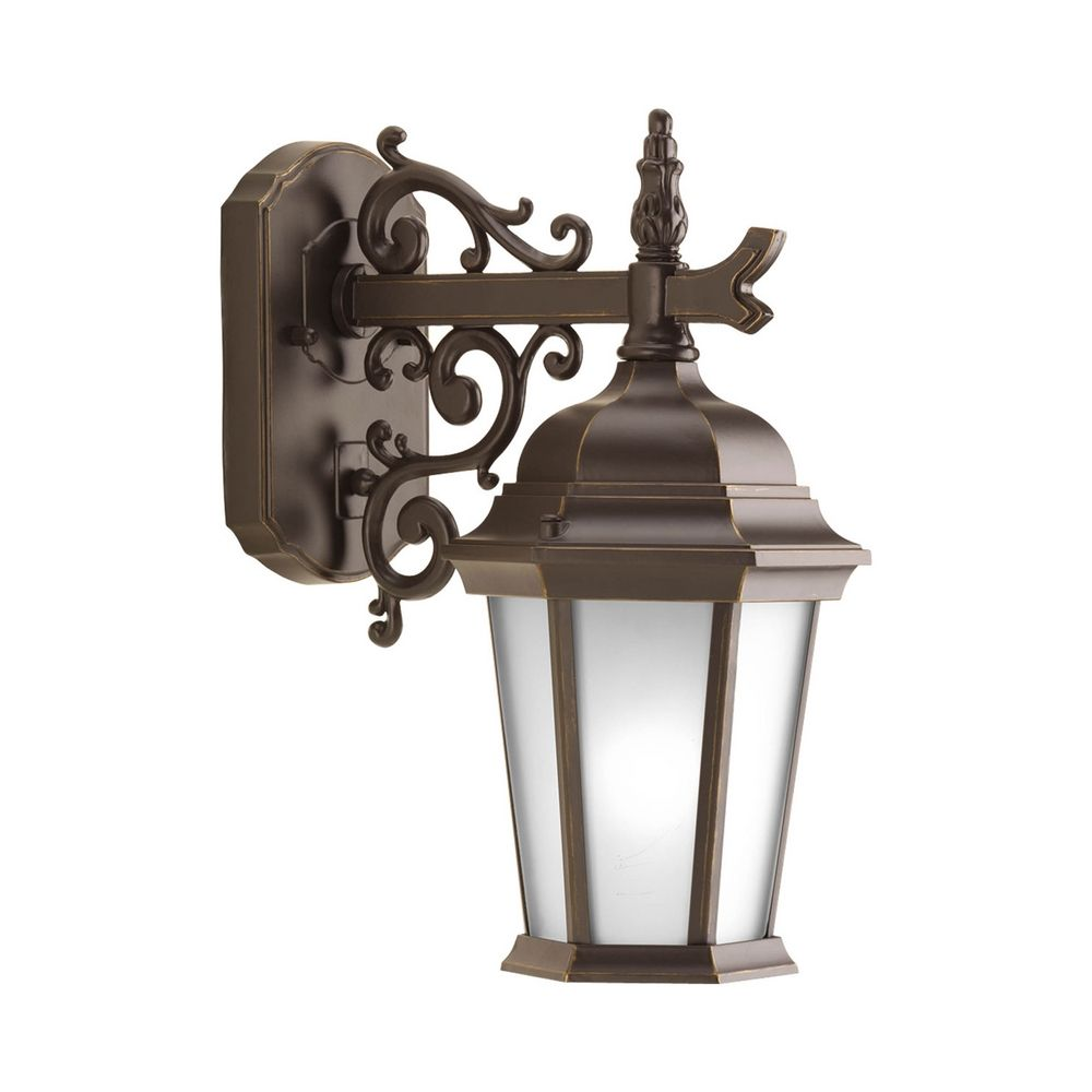 Outdoor Wall Light with White Glass in Antique Bronze