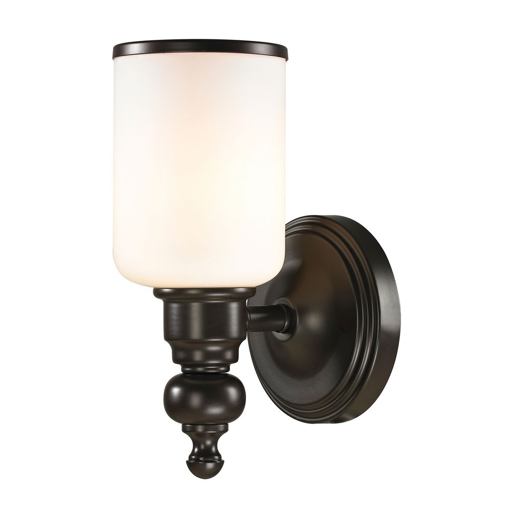 Bronze Glass Wall Lights : LED Sconce Wall Light with White Glass in Oil Rubbed Bronze Finish 11590/1-LED Destination ...