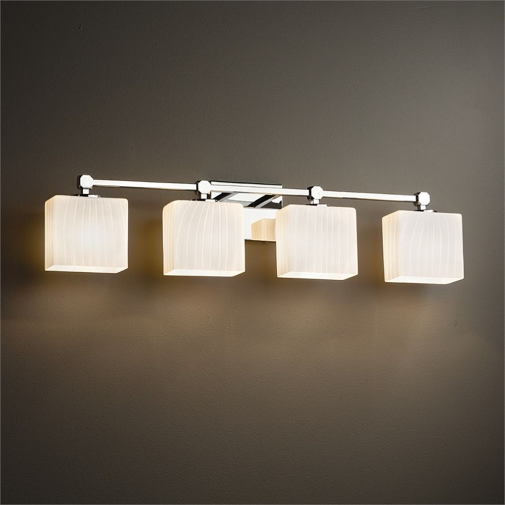 justice design group bathroom lighting justice design tetra polished chrome bathroom light 23570
