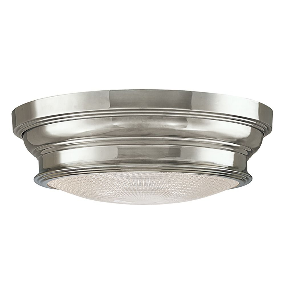 Flushmount Light With Clear Glass In Polished Nickel