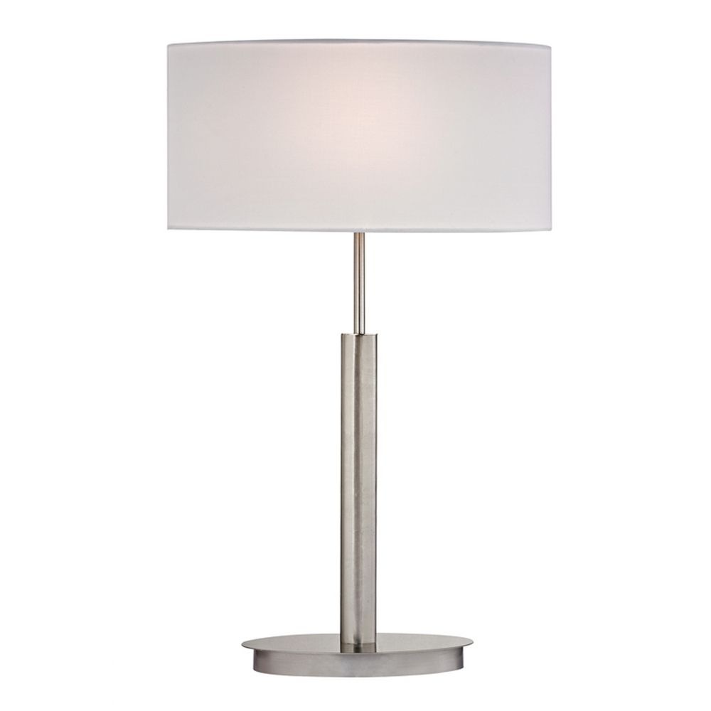 Modern led table lamp with white shades in satin nickel for Modern led table lamps