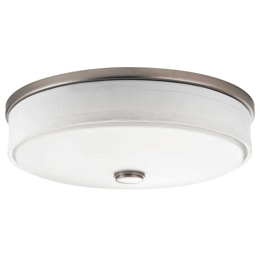 Kichler Flushmount Drum Ceiling Light With White Shade 10886NI Destinatio