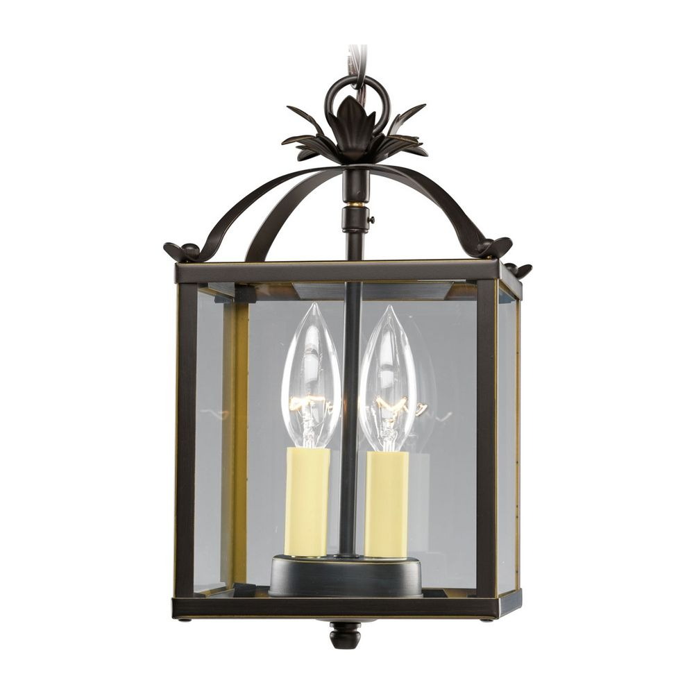 Progress Bronze Square Lantern Mini-Pendant Light With