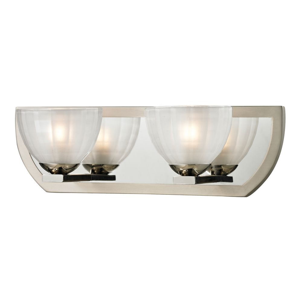 Modern bathroom light with white glass in polished nickel for Polished nickel bathroom lighting