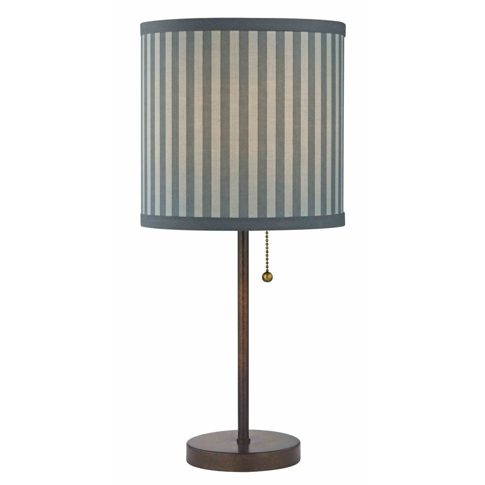 drum table lamp with pull chain with blue grey striped shade 1900. Black Bedroom Furniture Sets. Home Design Ideas