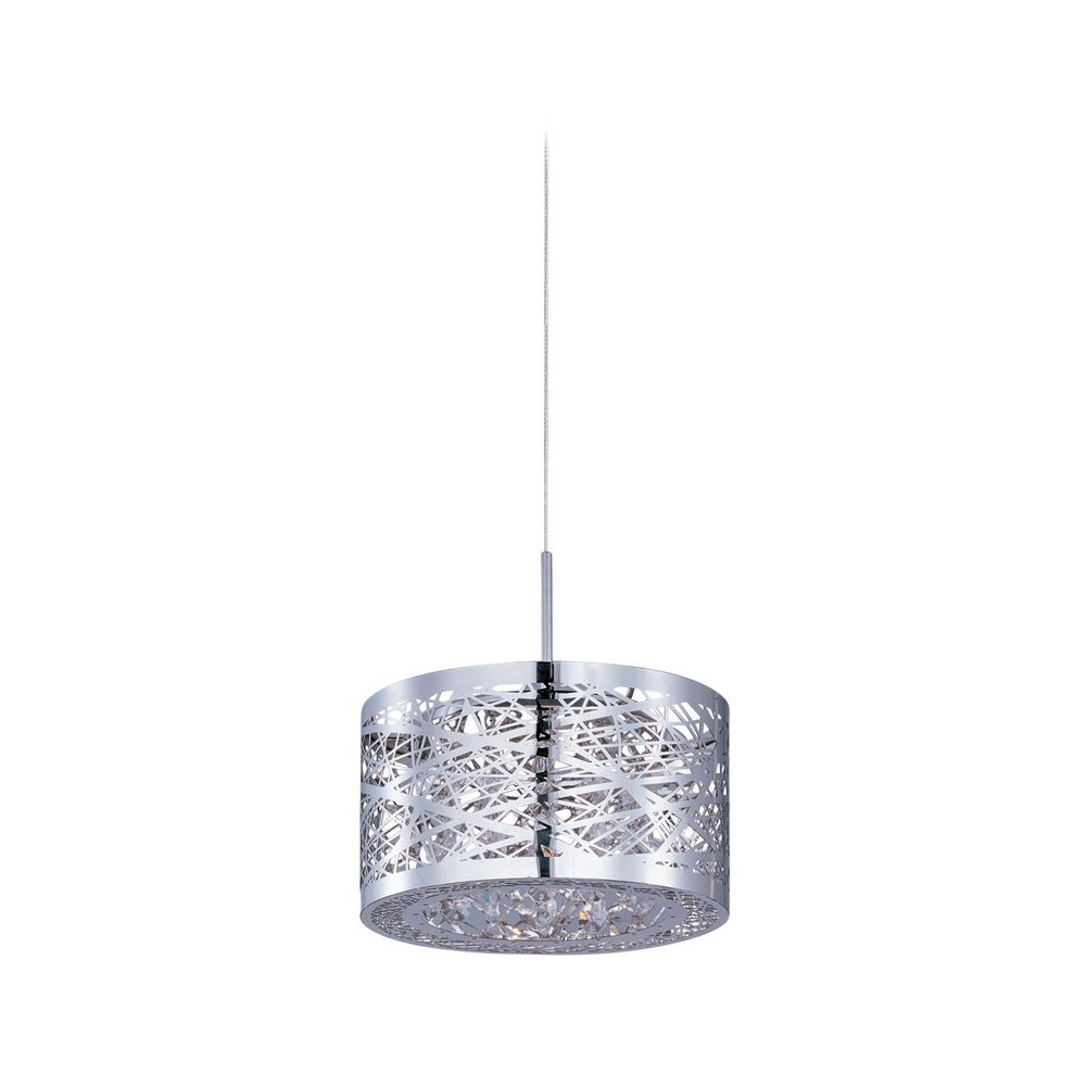 Modern Low Voltage Mini Pendant Light with Silver Cage Shade