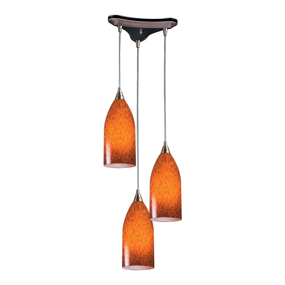 Modern Multi Light Pendant Light With Art Glass And 3