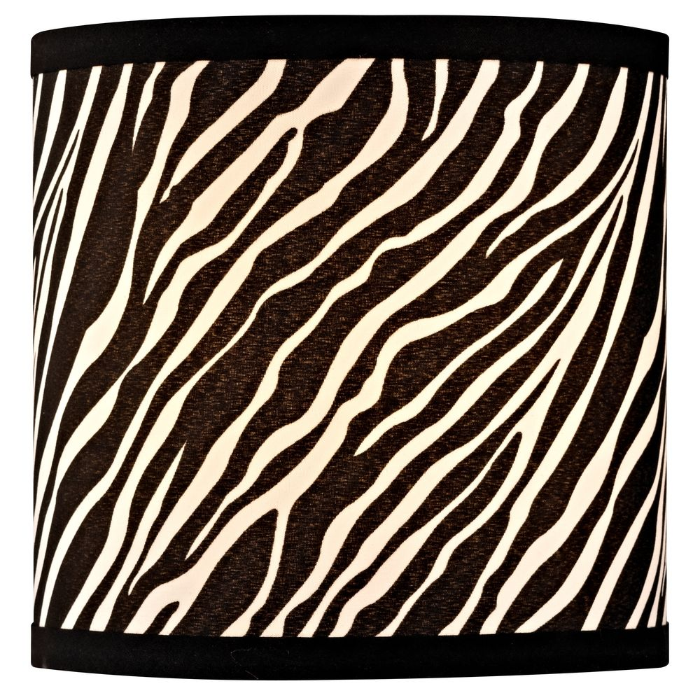 Zebra Drum Lamp Shade With Uno Embly