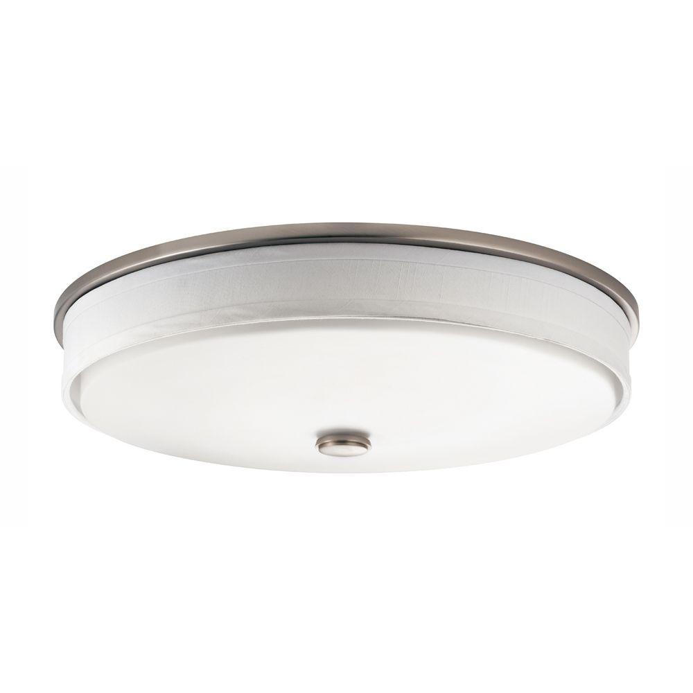 Kichler Flushmount Ceiling Light With White Drum Shade 10885NI Destinatio