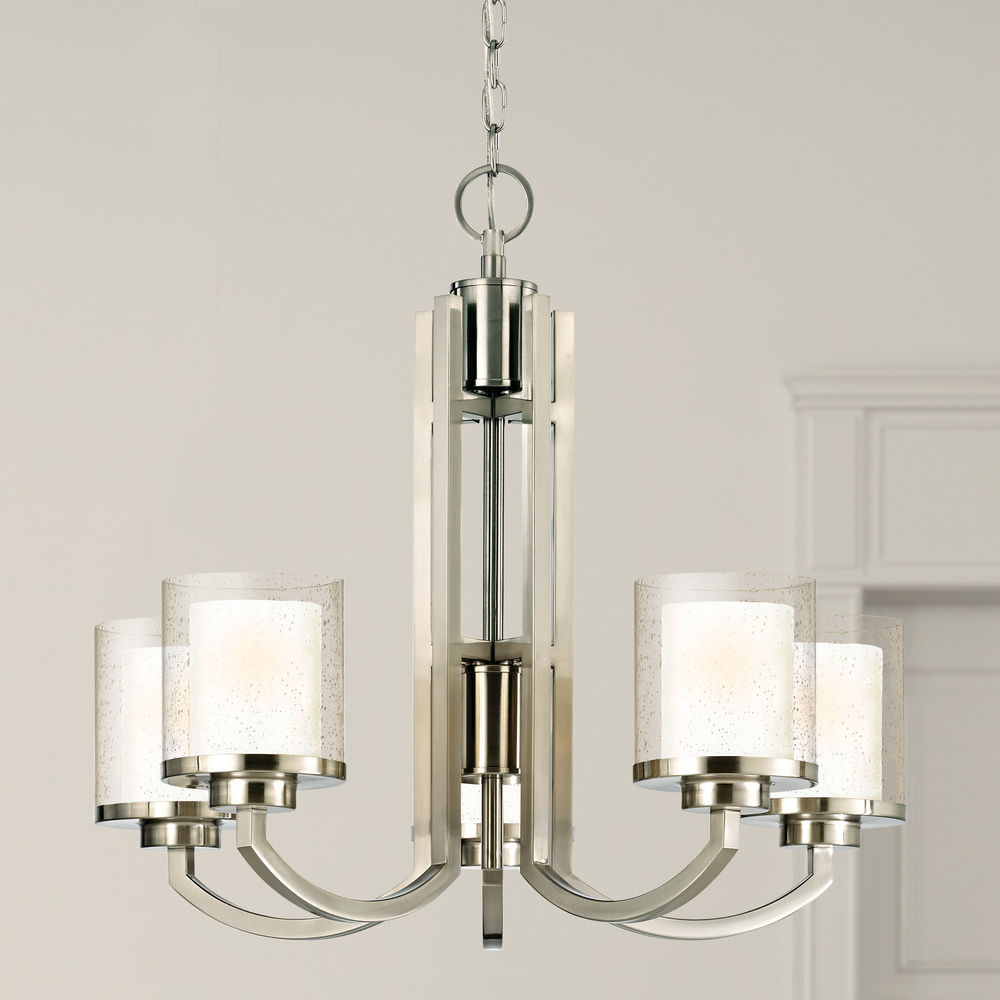 Seeded Gl Chandelier Satin Nickel