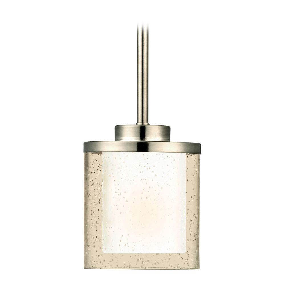 Modern Mini Pendant Light With Clear Seedy And White Glass Shades 2951 09