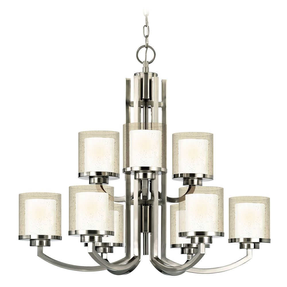 Modern two tier chandelier with clear seedy and white glass shades 2952 09 destination lighting - White chandelier with shades ...