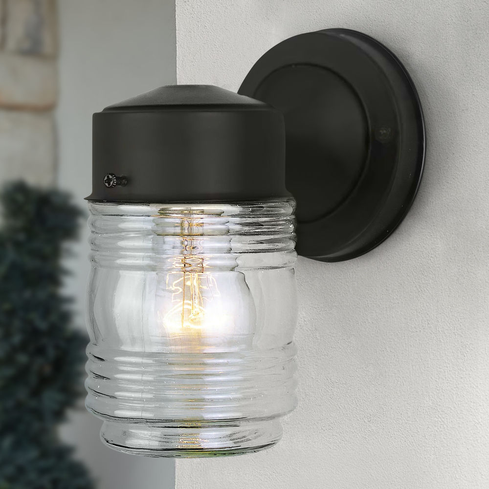 Jelly Jar Outdoor Wall Light Clear Glass Black Finish At Destination Lighting