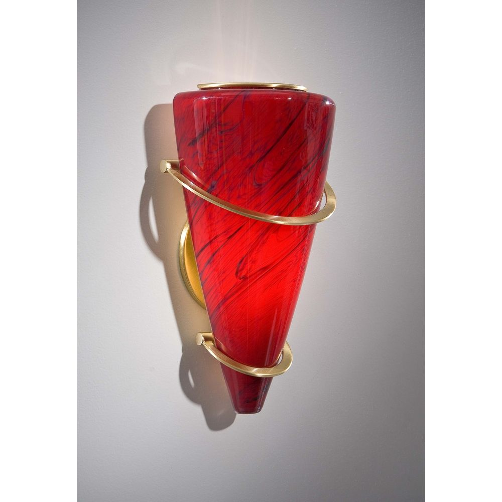 Red Glass Wall Sconces : Holtkoetter Modern Sconce Wall Light with Red Glass in Brushed Brass Finish 2969 BB MGR ...