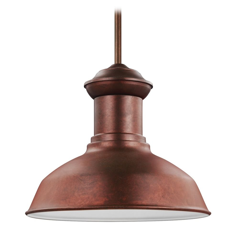 Sea Gull Fredricksburg Weathered Copper LED Outdoor Hanging Light 6247791S