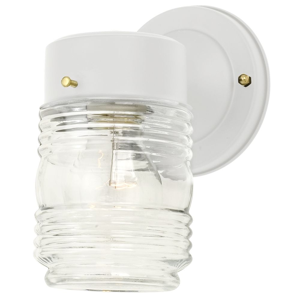 Outdoor Wall Light Replacement Glass: Jelly Jar Outdoor Wall Light With Clear Glass In White