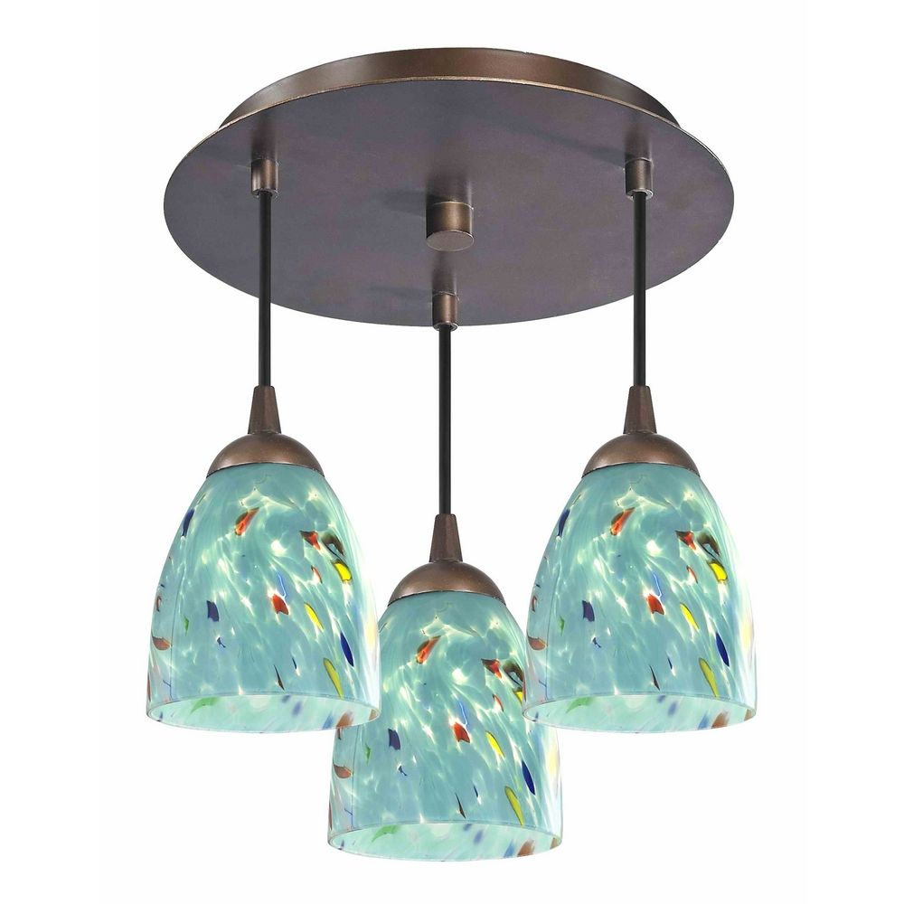 contemporary bronze ceiling light with turquoise blue