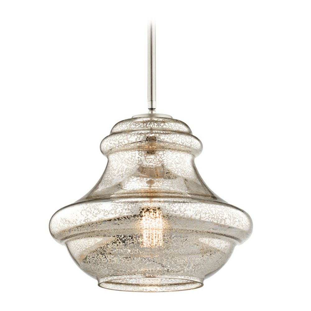 Kichler Lighting Everly Brushed Nickel Pendant Light With Urn Shade 42044nimer