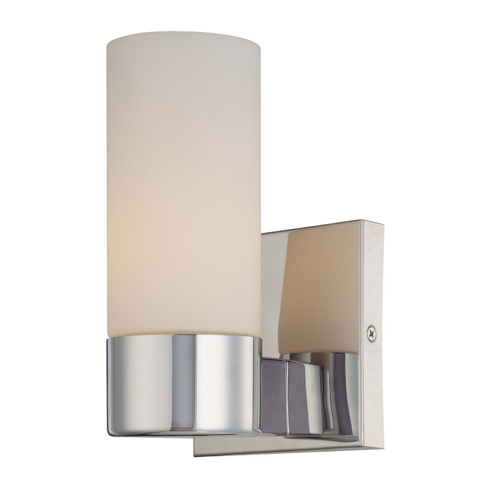Modern Chrome Wall Sconces : Modern Sconce Wall Light with White Glass in Chrome Finish 6211-77 Destination Lighting