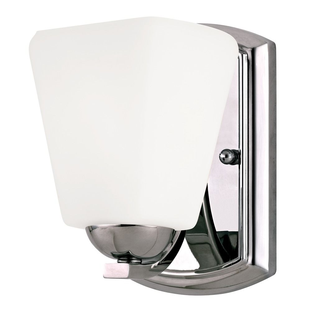 Wall Sconce Chrome Finish : Sconce Wall Light with White Glass in Chrome Finish 3371-26 Destination Lighting