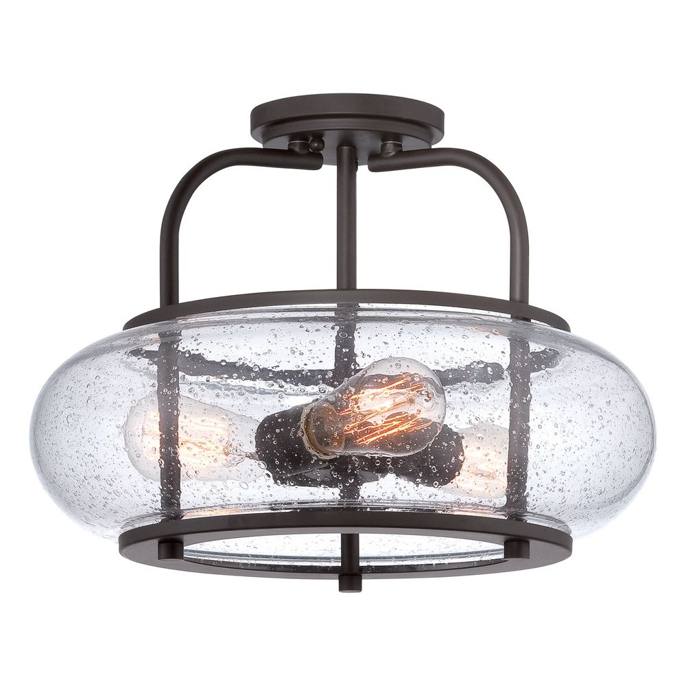 Quoizel Lighting Seeded Gl Semi Flushmount Light Bronze Trg1716oz