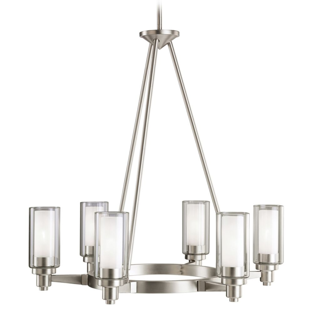 Kichler modern chandelier with clear glass in brushed nickel finish kichler modern chandelier with clear glass in brushed nickel finish arubaitofo Images