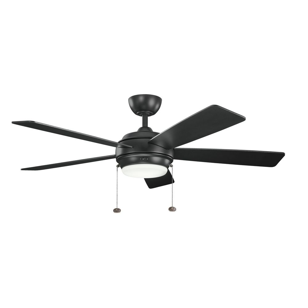 kichler lighting starkk satin black ceiling fan with light