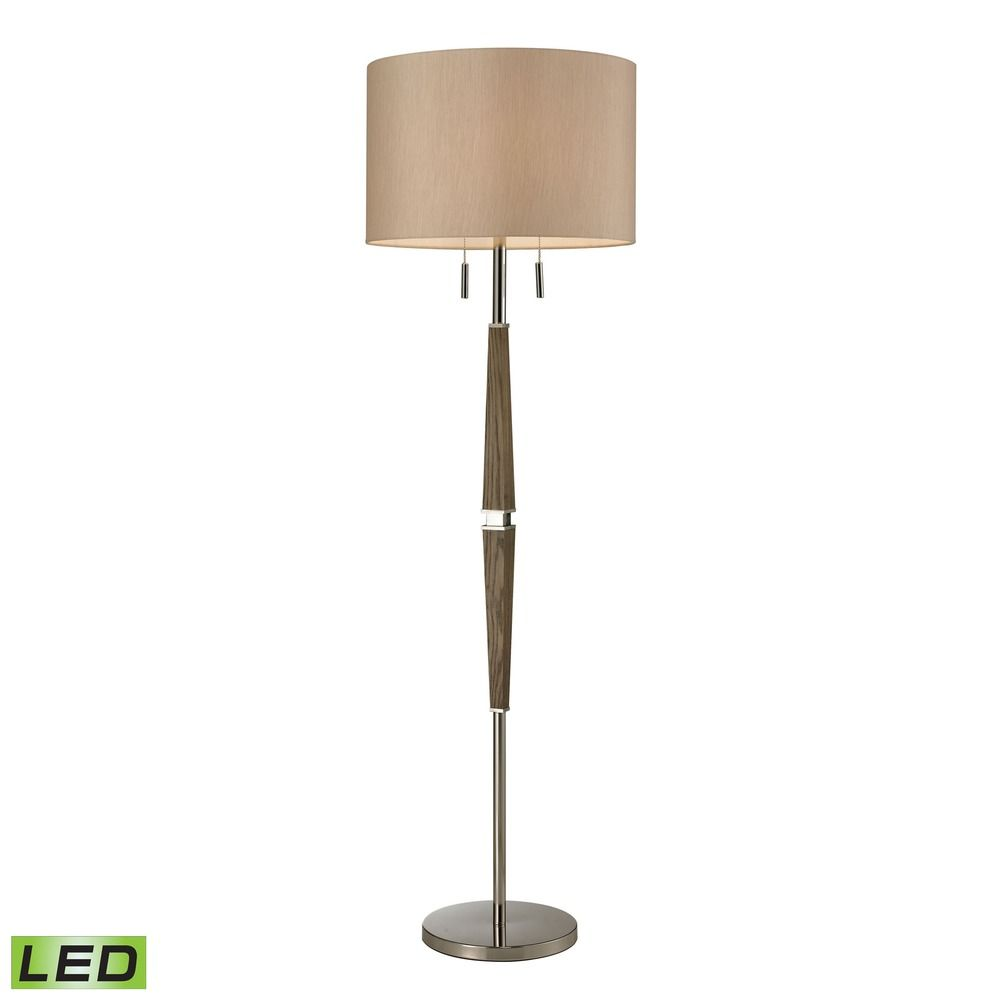 dimond lighting wood polished nickel led floor lamp with drum shade. Black Bedroom Furniture Sets. Home Design Ideas