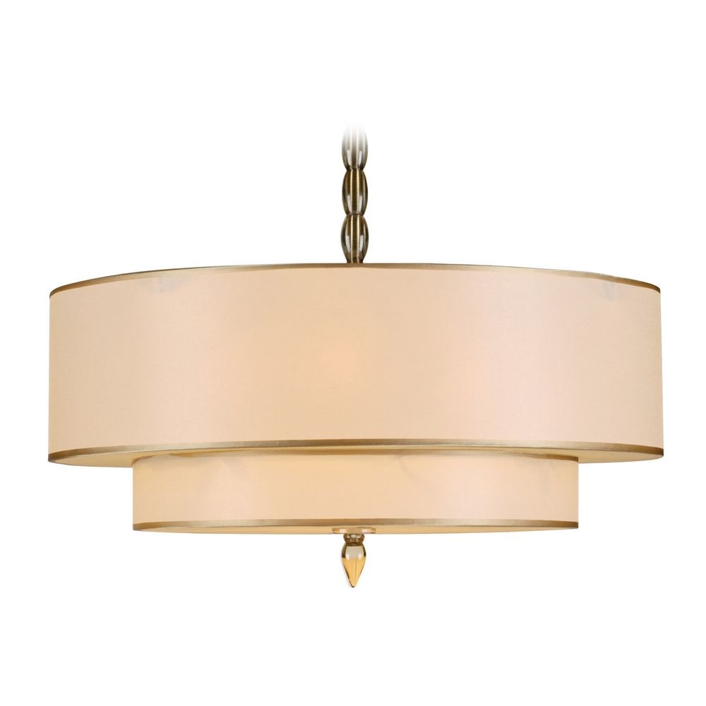 Drum Pendant Light With Gold Shades In Antique Brass