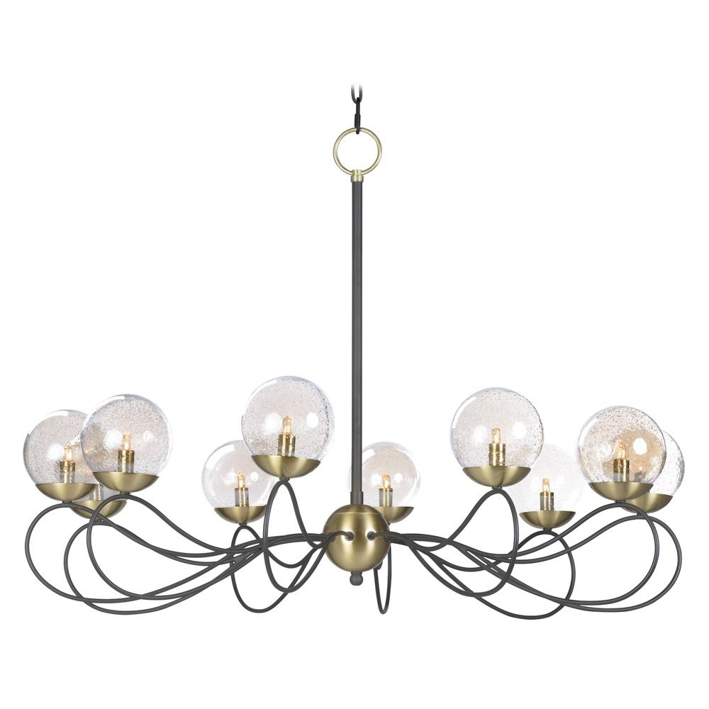 Maxim Lighting Mid Century Modern Seeded Glass Led Chandelier Bronze Brass Reverb By Hover Or To Zoom