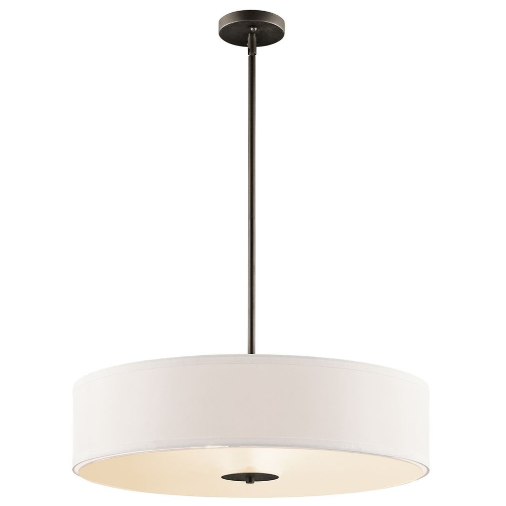Kichler Drum Pendant Light With White Shade In Olde Bronze