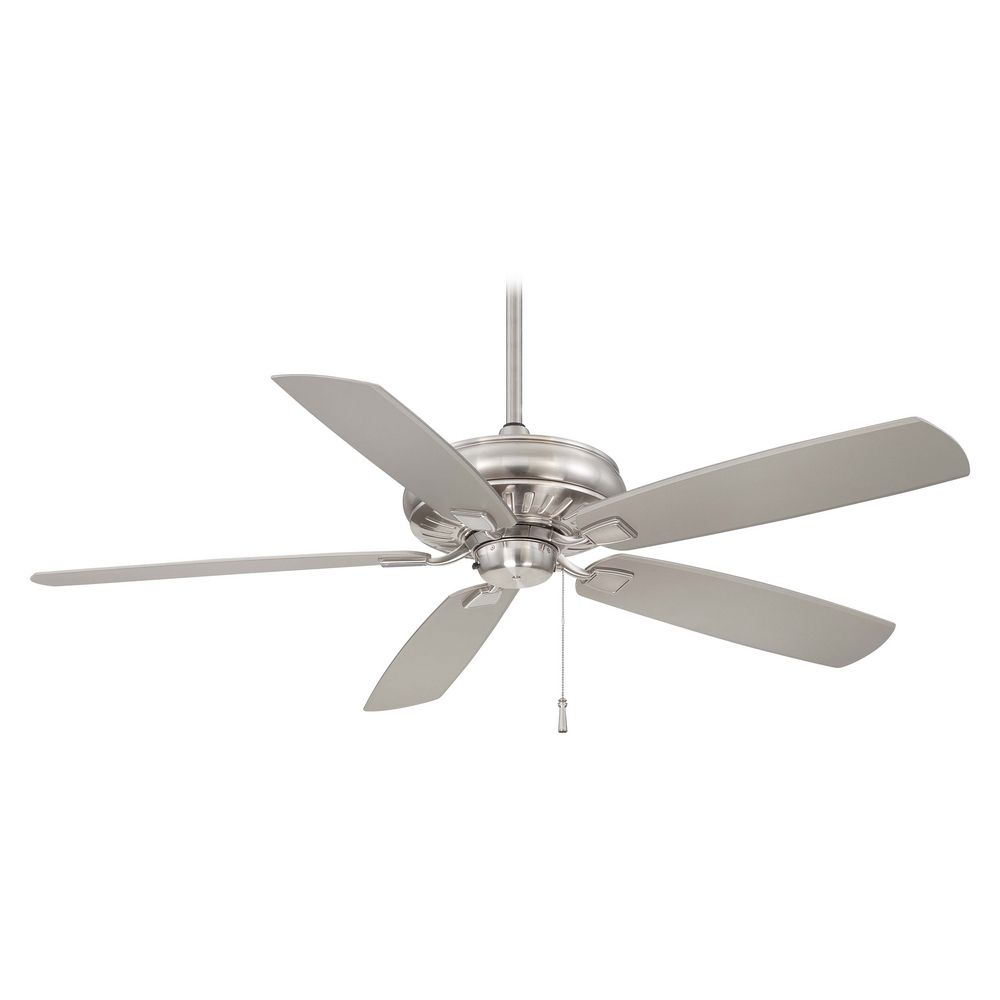 Ceiling Fan Without Light In Brushed Nickel Wet Finish