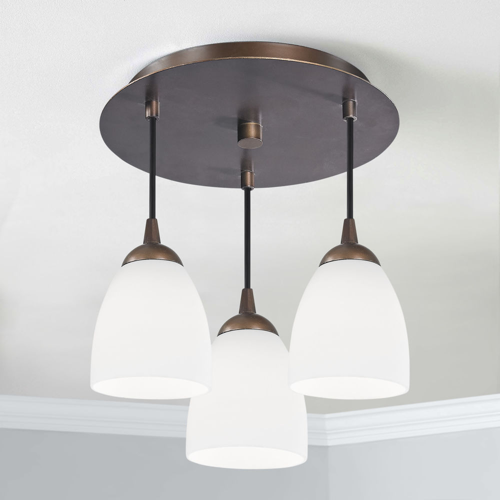 3 Light Semi Flush Light With White Glass Bronze Finish At Destination Lighting