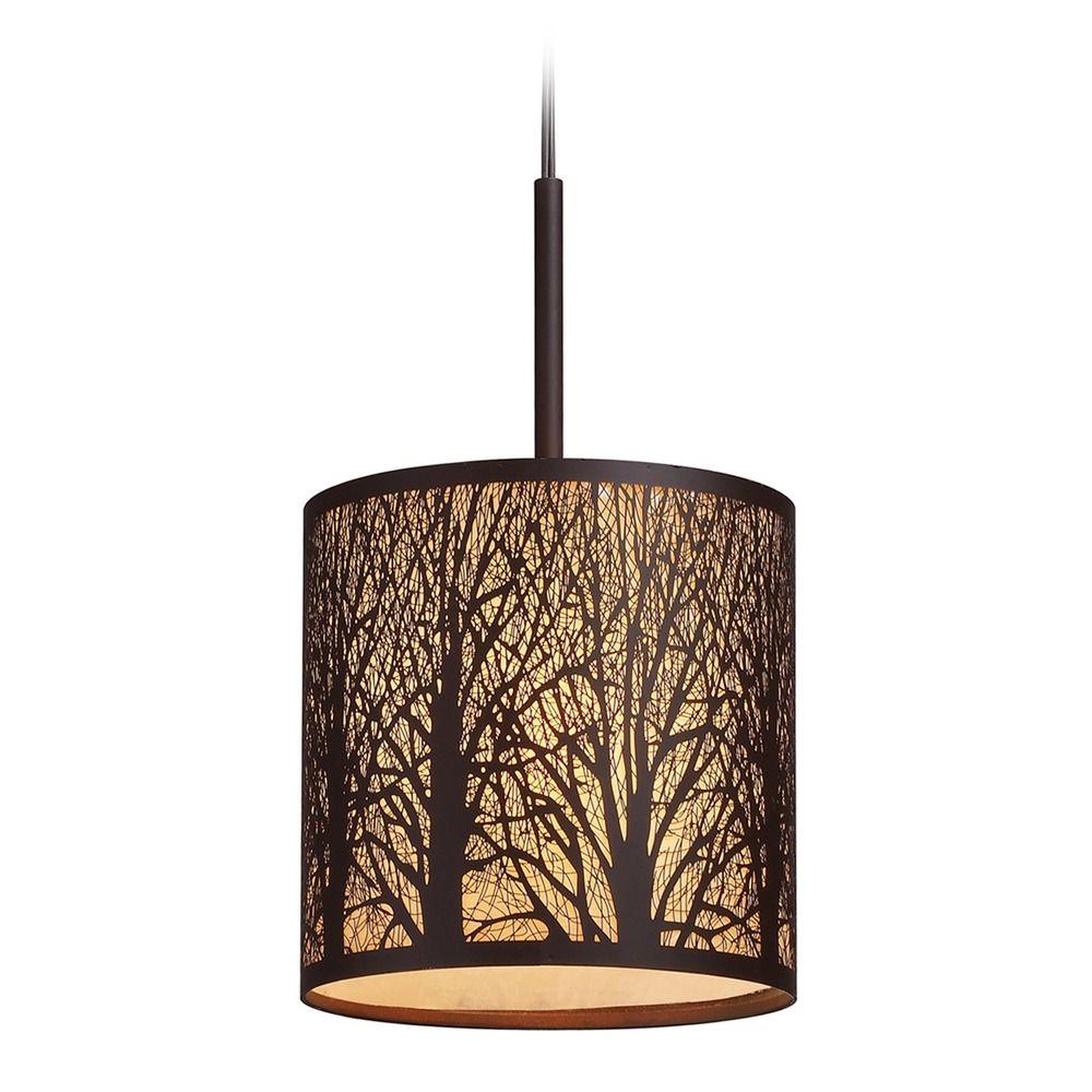 Elk Lighting Woodland Sunrise Aged Bronze Led Mini Pendant Light