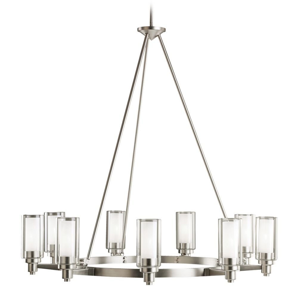 Kichler modern chandelier with clear glass in brushed nickel finish kichler lighting kichler modern chandelier with clear glass in brushed nickel finish 2346ni hover or click to zoom arubaitofo Images