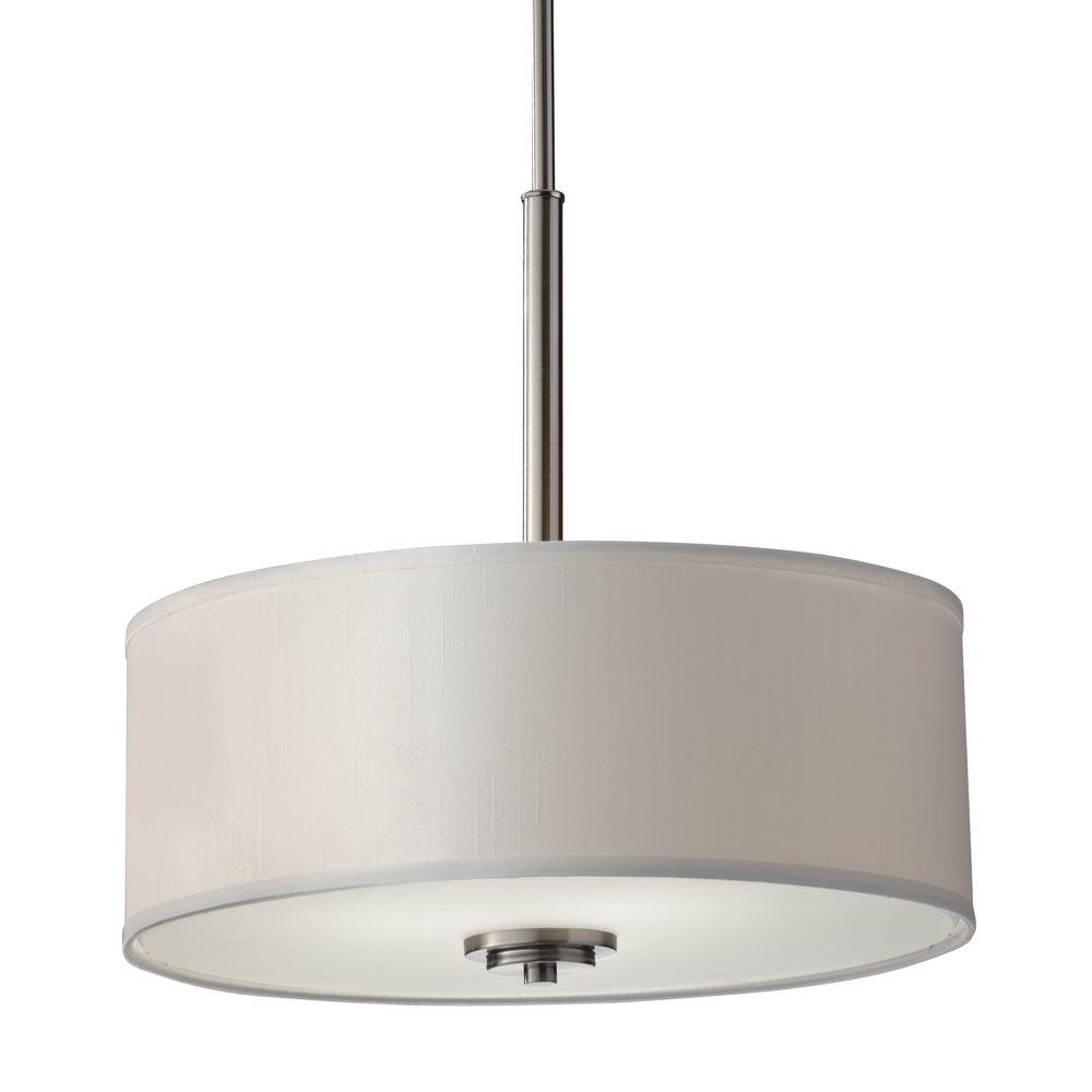 Modern drum pendant light with off white shade in brushed for Modern white pendant lighting