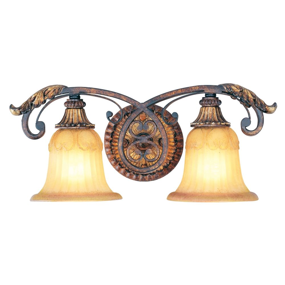 Livex lighting villa verona bronze with aged gold leaf for Bronze and gold bathroom accessories