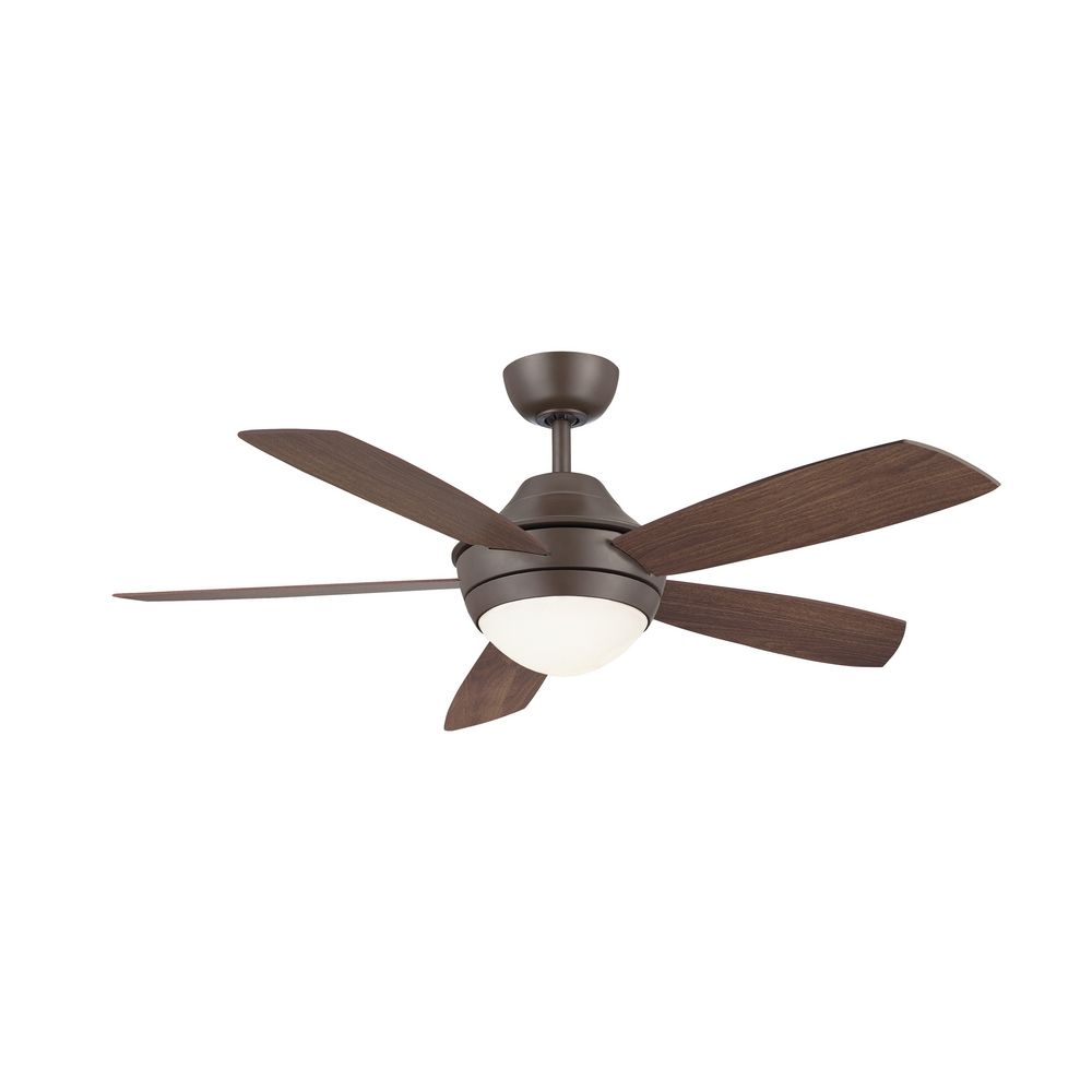 Fanimation fans modern ceiling fan with light with white glass in oil rubbed bronze finish - Modern white ceiling fan ...